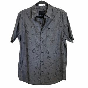 Hurley graphic gray button down collared shirt
